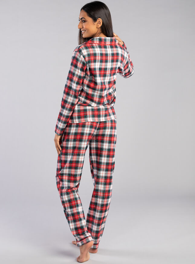Red check PJs in a bag