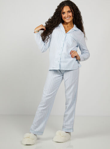 Blue stripe pyjamas in a bag