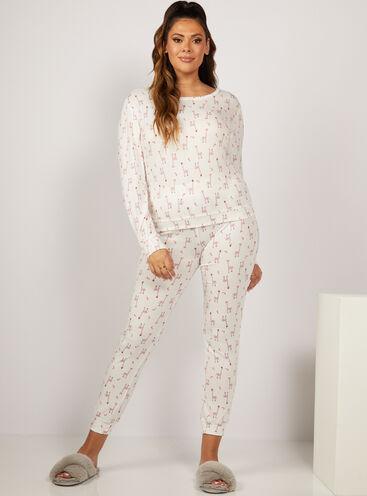 Santa giraffe print twosie pyjama set
