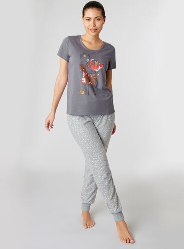 Reindeer tee and minky pants