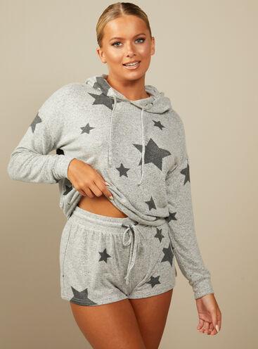 Sia star print hoodie and shorts set