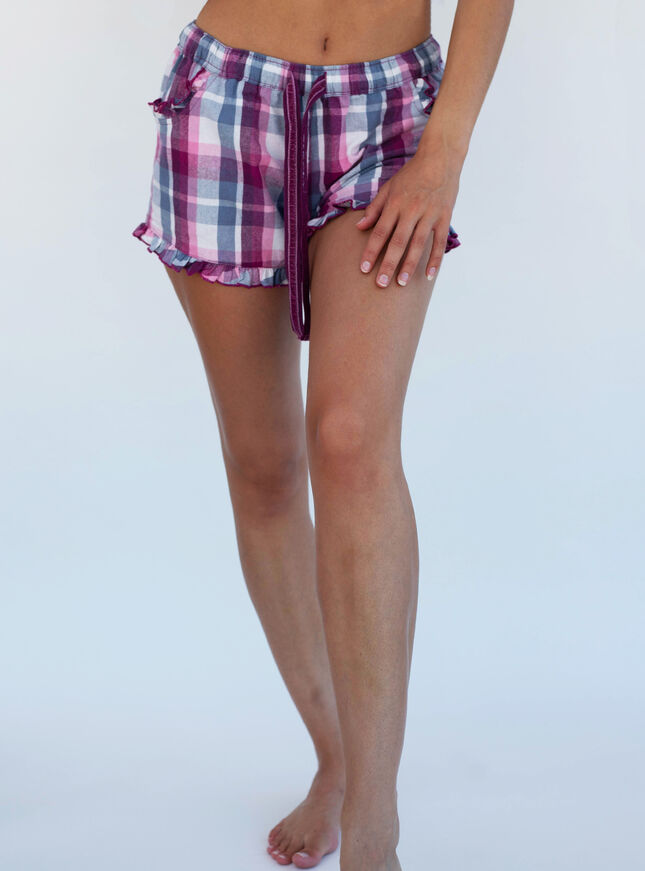 Mix & match check pyjama shorts