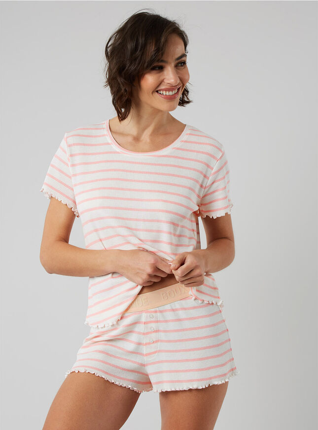 Stripe waffle tee and shorts set
