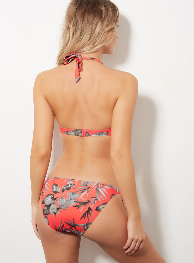 Coral palm bikini briefs