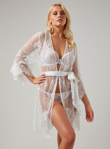 Fishnet lace short robe
