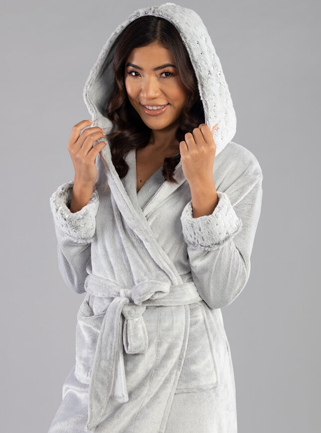 Star foil hooded dressing gown