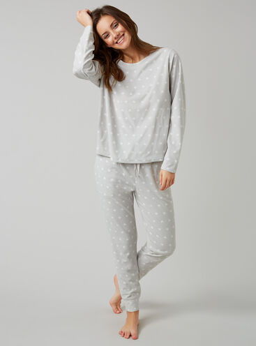 Heart waffle top and joggers set