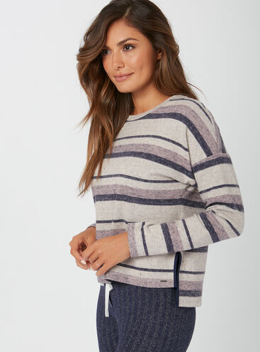 Henley stripe boxy sweater