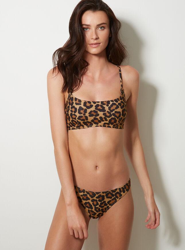 Mozambique leopard crop bikini top