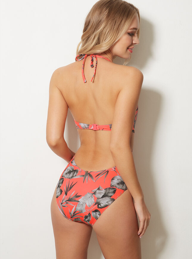 Coral palm swimsuit