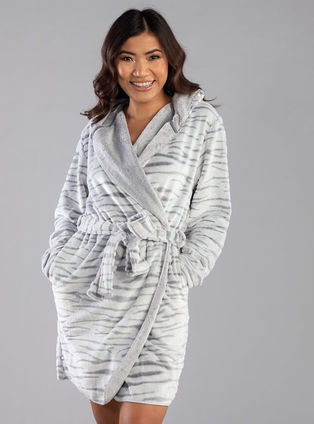 Zebra waterfall hooded dressing gown
