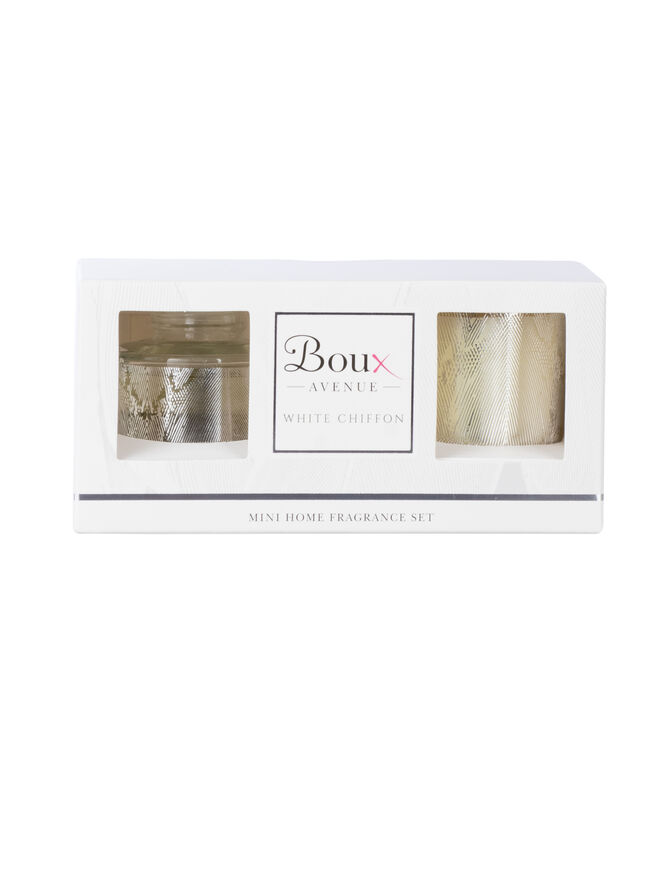 White chiffon mini home fragrance set