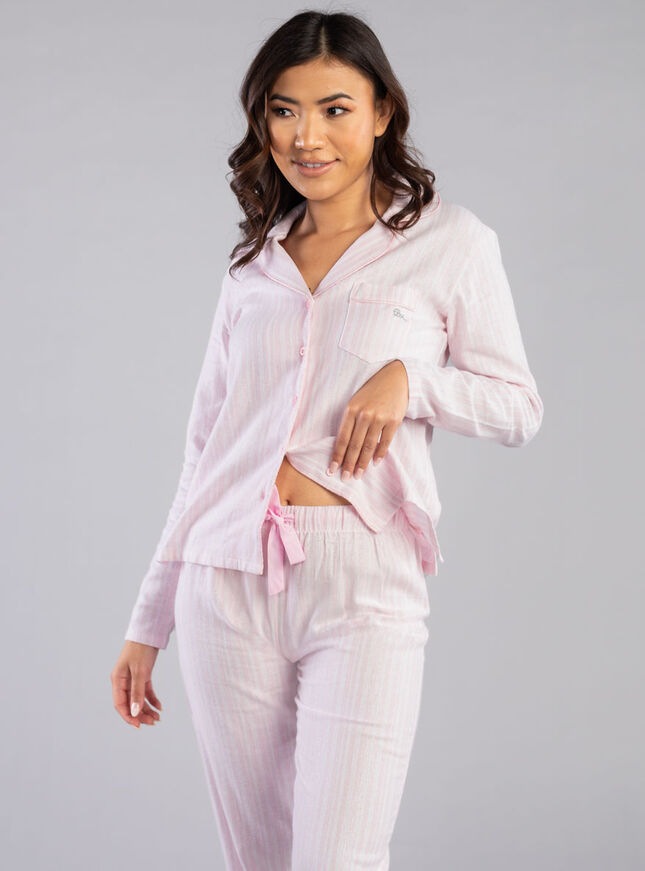 Pink lurex stripe PJs in a bag