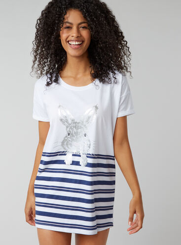 Stripe bunny sleep tee