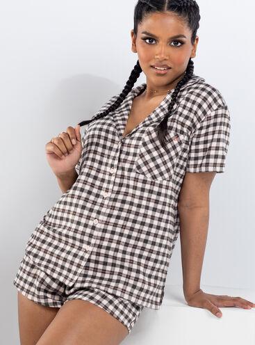 Grey gingham shortie pyjamas in a bag
