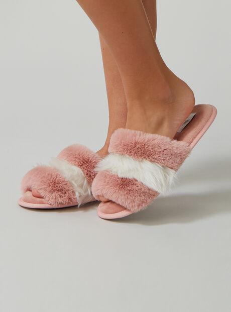 Fluffy stripe fur slippers