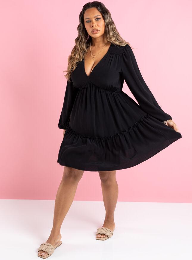 Larissa ruffle smock dress
