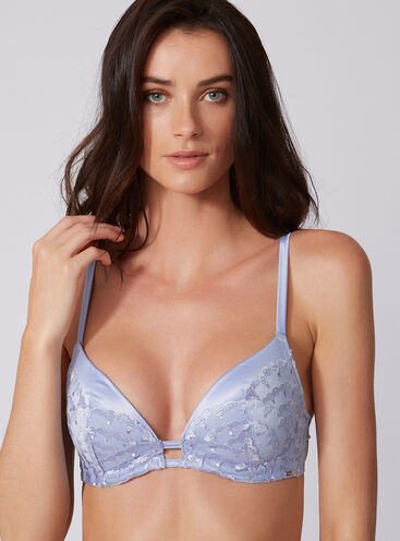 Statement embellished plunge bra