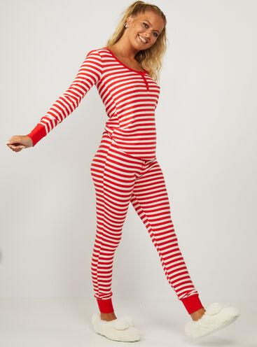 Joy red stripe henley pyjama set
