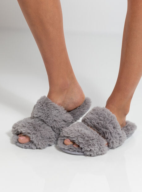Double band fluffy slider slippers