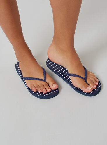 Stripe flip flops