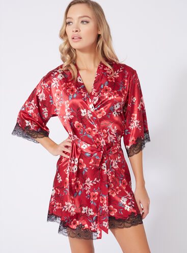 Oriental bloom satin kimono