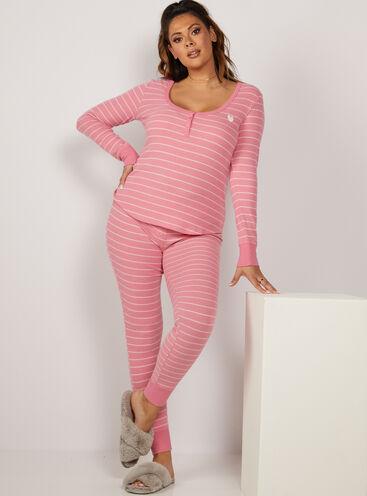 Candy pink stripe henley pyjama set