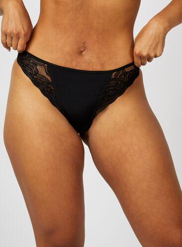 Talia microfibre and lace high leg briefs