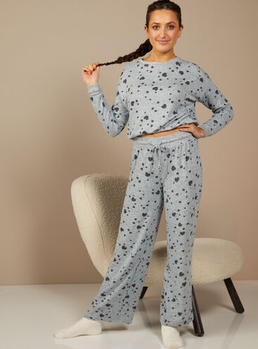 Sia heart print top and wide leg trousers