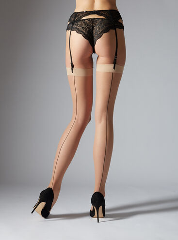 Cuban heel plain top stockings