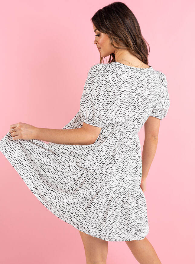 Sofia spot tiered smock dress