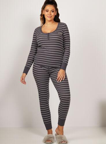 Charcoal stripe henley pyjama set