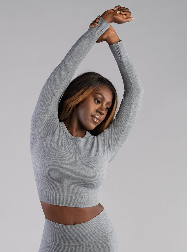 Boux Sport ribbed seamless long sleeve crop top