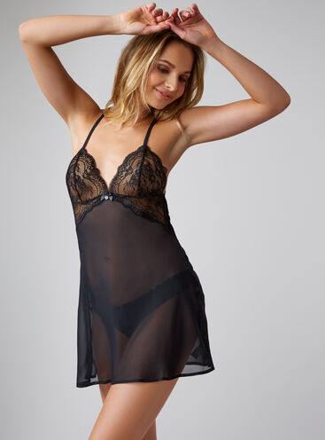Crystal chiffon chemise and briefs