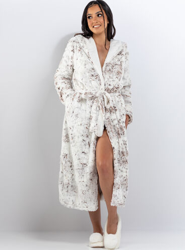 Hooded snow lynx long dressing gown