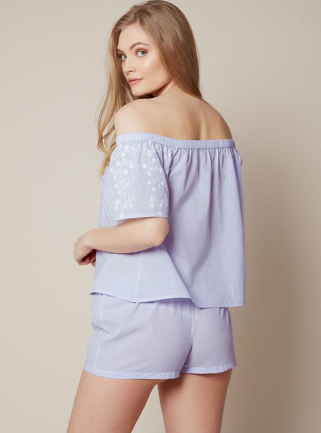 Prairie bardot embroidered pyjama set