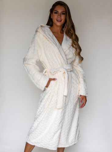 Heart fur hooded long dressing gown