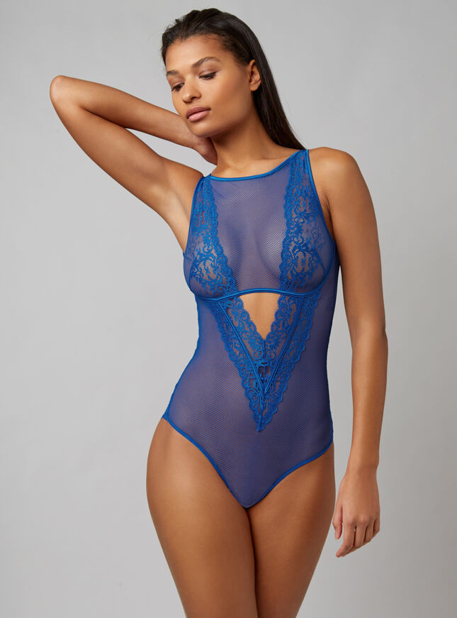 Lace and mesh high neck body