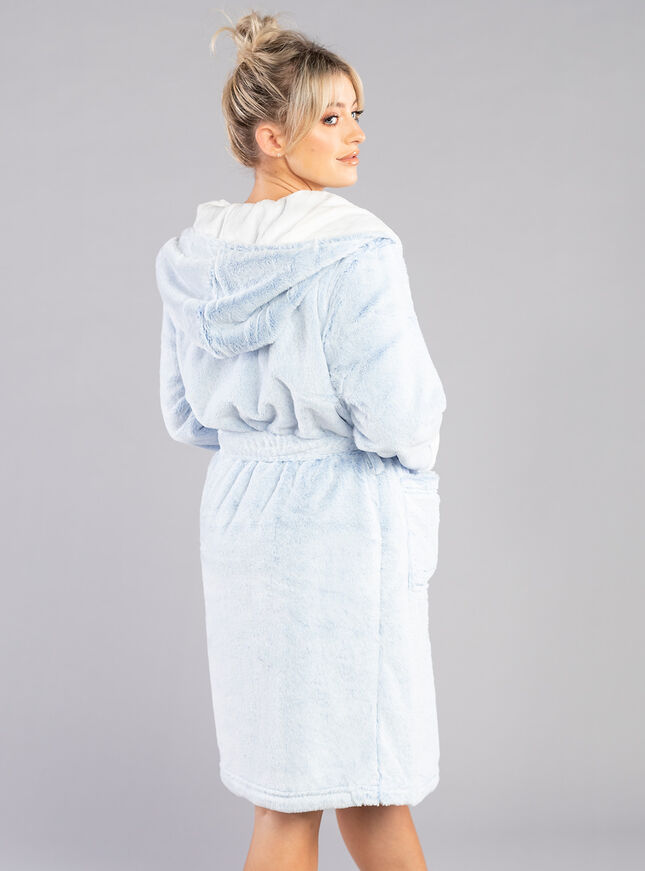 Frosted fur dressing gown
