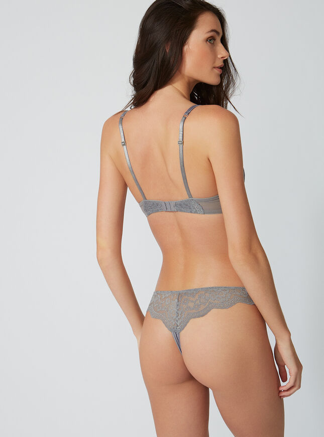 Stitched satin thong