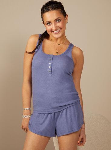 Soft Boux pointelle matching vest and shorts set