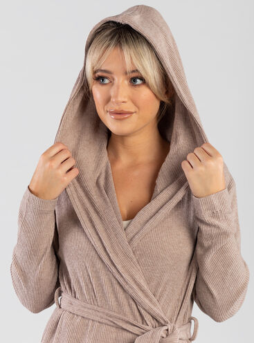 Lillie ribbed lounge long dressing gown