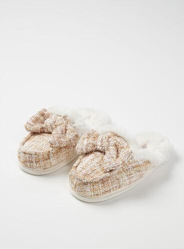 Tweed mule slippers