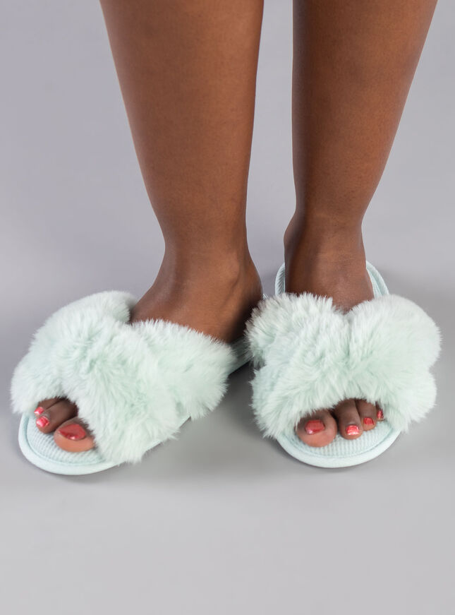 Knot twist fur slider slippers