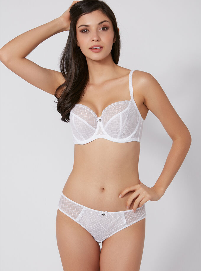 6a37b8f413 Alarna non-padded full support balconette bra. Model wears size 32E