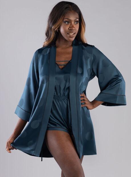 Spot jacquard dressing gown