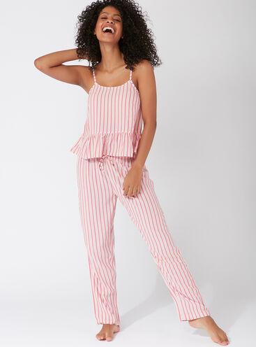 Candy stripe peplum pyjama set