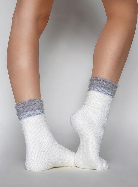 Lurex stripe velvet socks