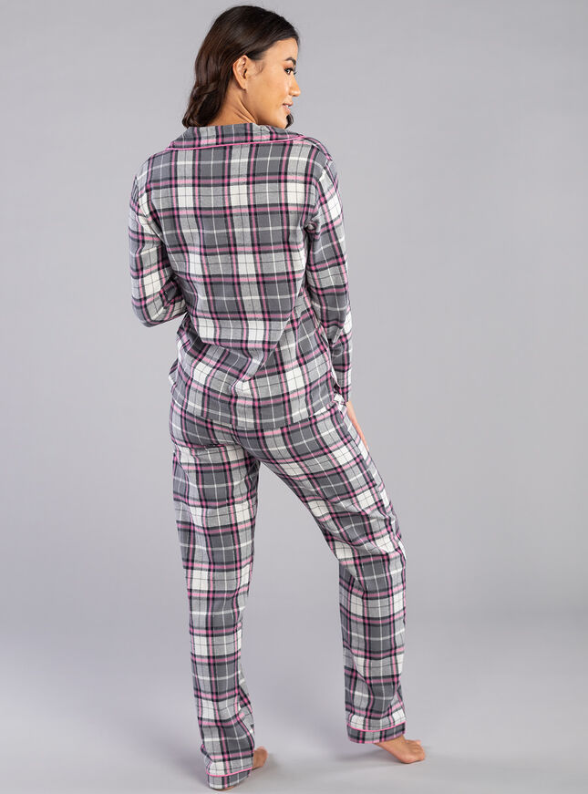 Charcoal check PJs in a bag