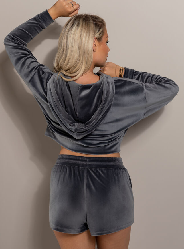 Velour lounge zip through hoodie